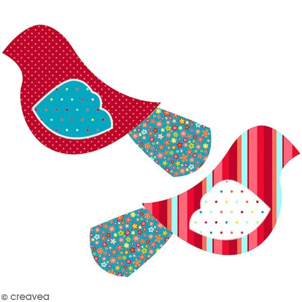 Kit couture - Peluche Oiseau rouge et bleu - 26 x 13 cm - Photo n°1