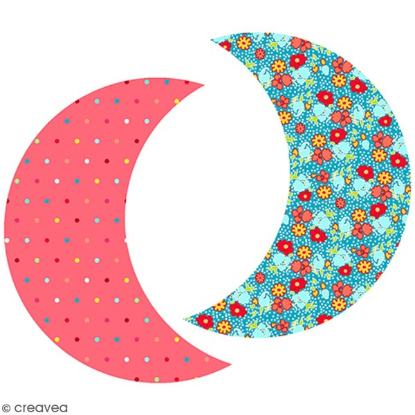 Kit couture - Peluche Lune fleurs et pois - 15 x 19 cm - Photo n°1