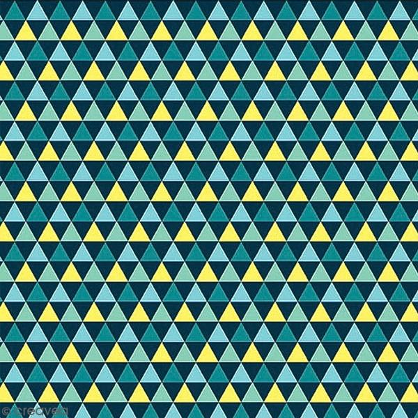 Grand coupon de tissu coton microfibre - Collection Amazonie - Grands triangles - 300 x 160 cm - Photo n°1