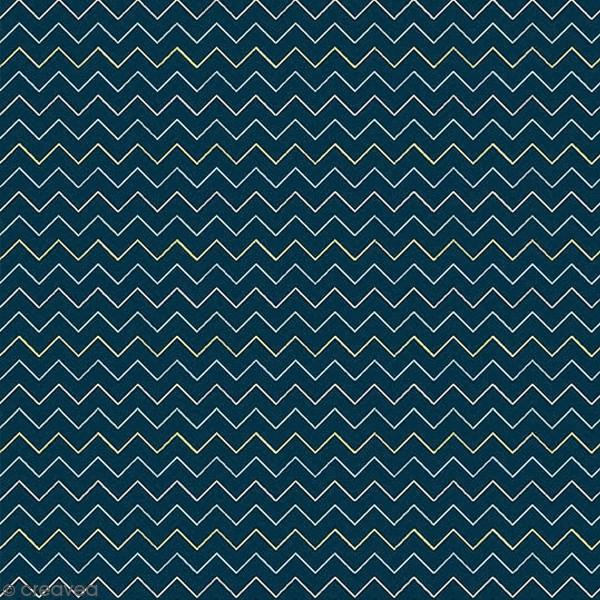 Grand coupon de tissu coton microfibre - Collection Amazonie - Chevrons - 300 x 160 cm - Photo n°1