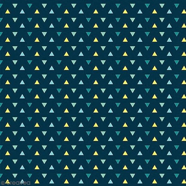 Grand coupon de tissu coton microfibre - Collection Amazonie - Triangles - 300 x 160 cm - Photo n°1