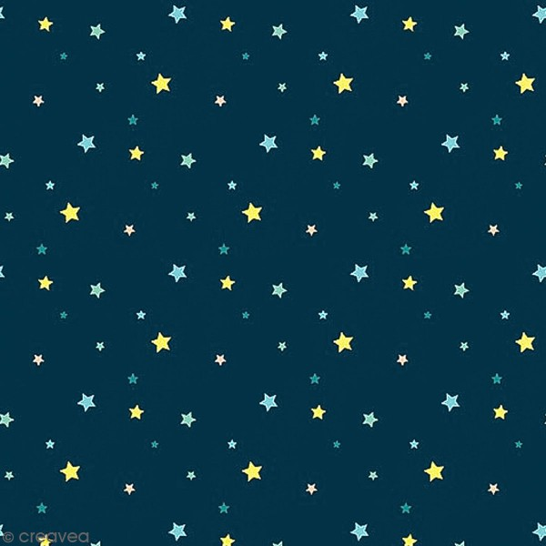 Grand coupon de tissu coton microfibre - Collection Amazonie - Etoiles - 300 x 160 cm - Photo n°1