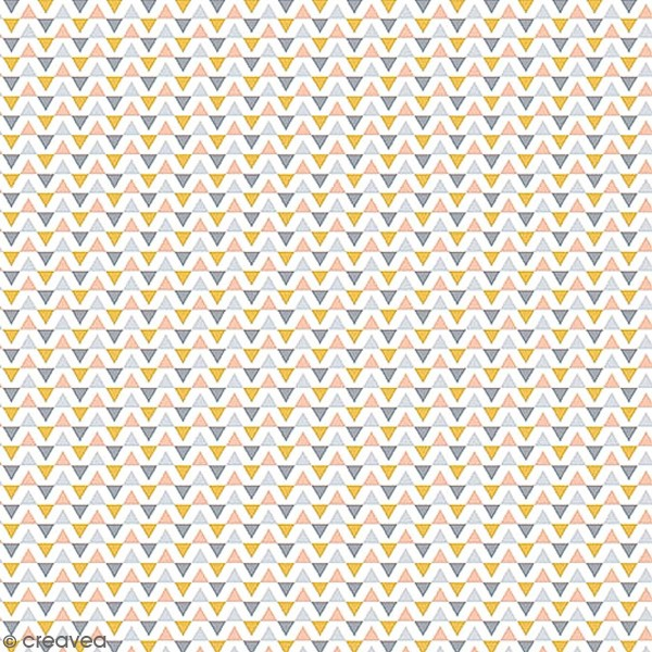 Grand coupon de tissu coton microfibre - Collection Menphis - Guirlande de triangles - 300 x 160 cm - Photo n°1