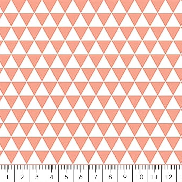 Grand coupon de tissu coton microfibre - Motif Triangle - Corail - 300 x 160 cm - Photo n°2