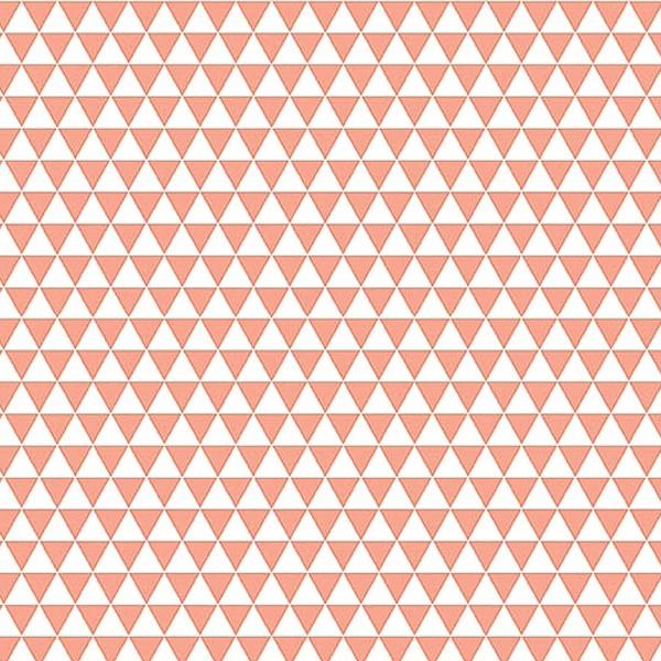 Grand coupon de tissu coton microfibre - Motif Triangle - Corail - 300 x 160 cm - Photo n°1