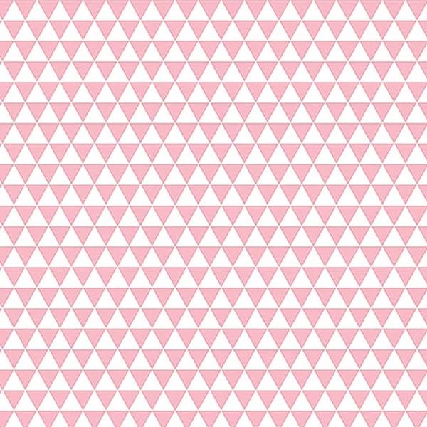 Grand coupon de tissu coton microfibre - Motif Triangle - Rose - 300 x 160 cm - Photo n°1
