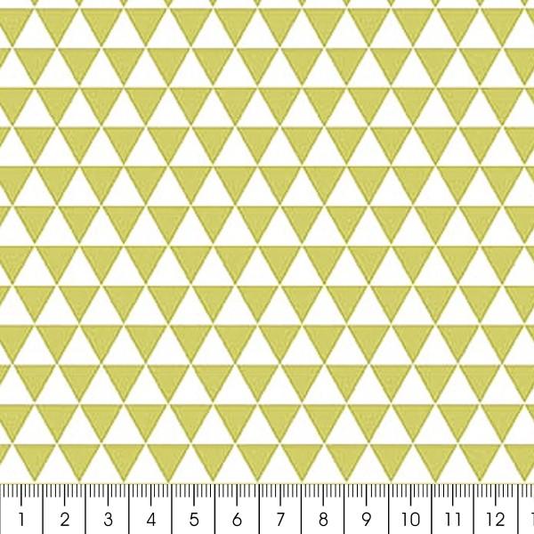 Grand coupon de tissu coton microfibre - Motif Triangle - Vert - 300 x 160 cm - Photo n°2