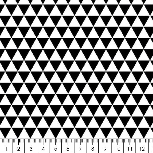 Grand coupon de tissu coton microfibre - Motif Triangle - Noir - 300 x 160 cm - Photo n°2