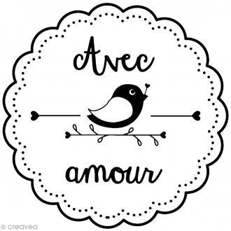 Tampon bois rond - Avec amour - 2,8 cm