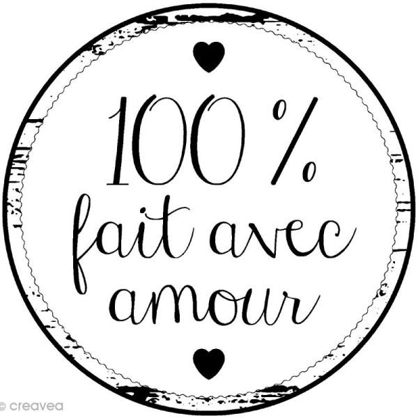 Tampon bois rond - 100% Fait avec amour - 2,8 cm - Photo n°1