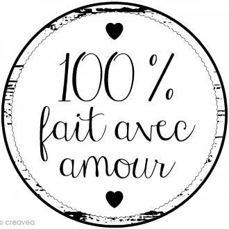 Tampon bois rond - 100% Fait avec amour - 2,8 cm