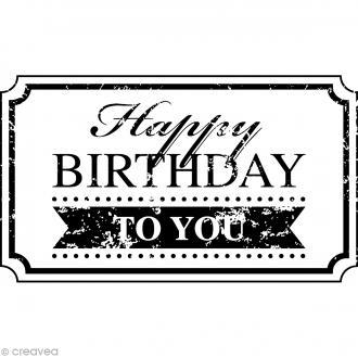 Tampon bois vintage - Happy birthday to you - 6,5 x 3,5 cm