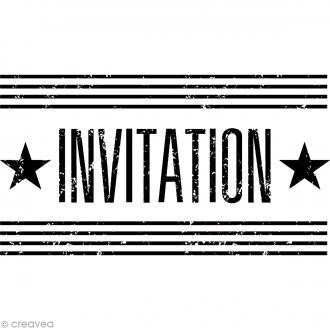 Tampon bois vintage - Invitation - 6,5 x 3,5 cm