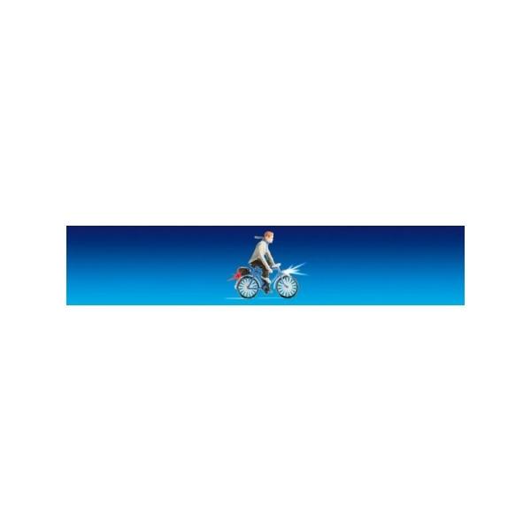 Cycliste avec feux fonctionnels  - Echelle HO - Photo n°1