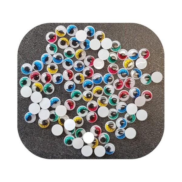 Lot de 100 Yeux ronds, diam. 12 mm, à pupille mobile, 5 couleurs assorties, en plastique, 50 paires - Photo n°1