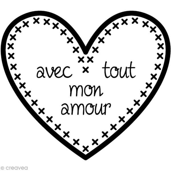 Kit tampon clear et bloc acrylique - Avec tout mon amour - 4 x 3,5 cm - Photo n°1