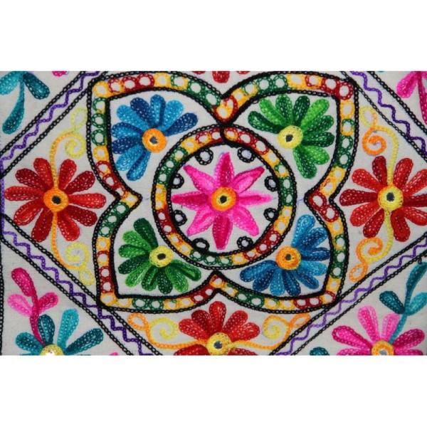 Housses de coussin carré, brodée multicolore de 40 cm x 40 cm - Lot de 2 - Photo n°3