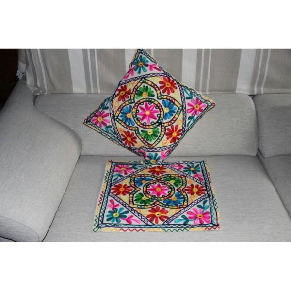 Housses de coussin carré, brodée multicolore de 40 cm x 40 cm - Lot de 2 - Photo n°4