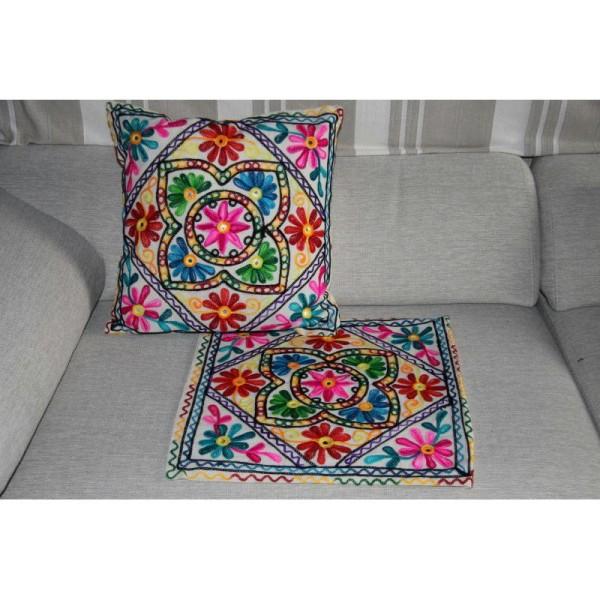 Housses de coussin carré, brodée multicolore de 40 cm x 40 cm - Lot de 2 - Photo n°1