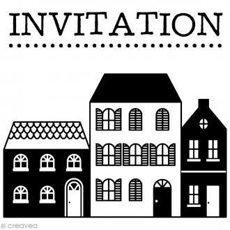 Kit tampon clear et bloc acrylique - Invitation - 4 x 3,5 cm