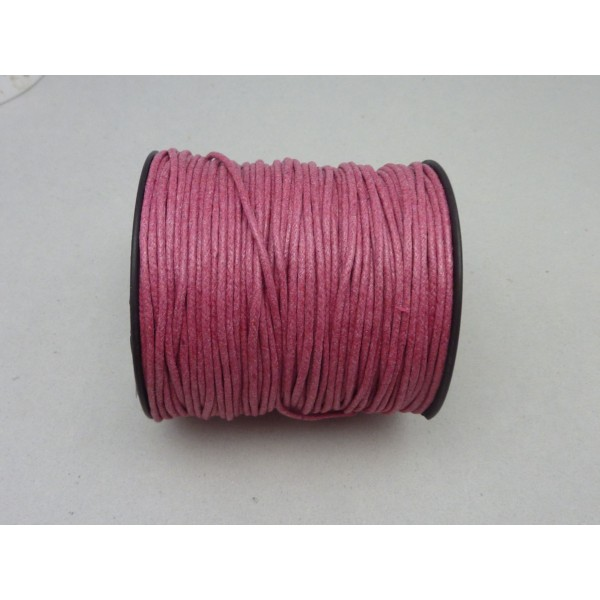 1m Cordon Coton Ciré 1,8mm De Couleur Rose Framboise - Photo n°2