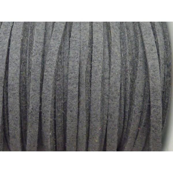 1m Cordon Plat Daim Synthétique 2,5mm De Couleur Gris - Photo n°2