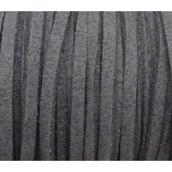 1m Cordon Plat Daim Synthétique 2,5mm De Couleur Gris - Photo n°1