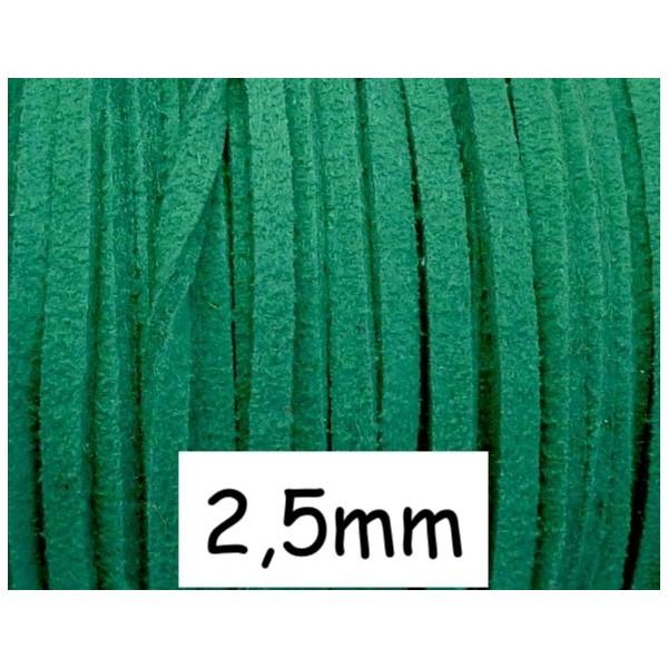 1m Cordon Plat Daim Synthétique 2,5mm De Couleur Vert - Photo n°1