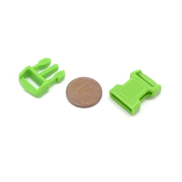 2 Fermoirs Clip Bracelet Paracorde, Sac, Couture 15mm X 29mm En Plastique Vert Anis - Photo n°2
