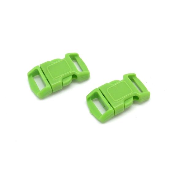 2 Fermoirs Clip Bracelet Paracorde, Sac, Couture 15mm X 29mm En Plastique Vert Anis - Photo n°1