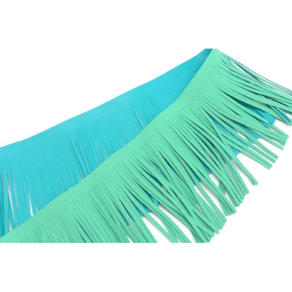 R-20cm De Galon Frange Bleu Vert Turquoise En Simili Cuir Pour Customisation, Pompon Hauteur Frange - Photo n°2