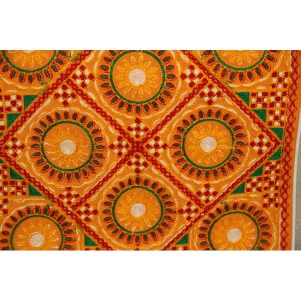 Housses de coussin carré jaunes, brodée multicolore de 40 cm x 40 cm - Lot de 2 - Photo n°3