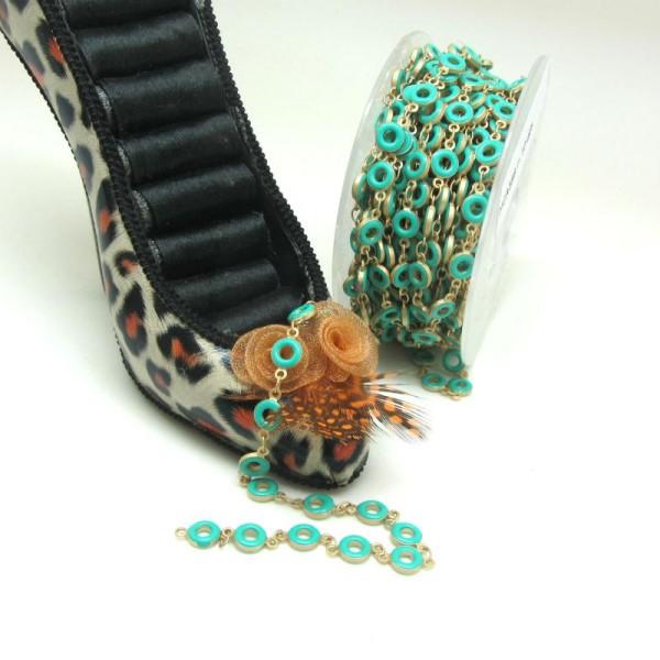 20 cm Chaine Ronds Vert Emeraude, Chaine Doré Mat, Emaillée, Ronds 2.5 mm, Qualité Premium - Photo n°1