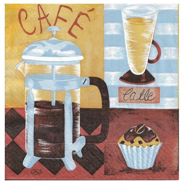 4 Serviettes en papier Café Cuisine Format Lunch - Photo n°2