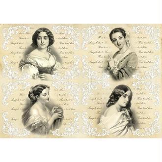 1 feuille de papier de découpage collage 21 x 29,7 cm VINTAGE RETRO FEMME 59