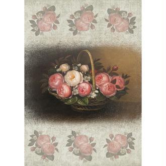 1 feuille de papier de découpage collage 21 x 29,7 cm PANIER DE ROSES 118