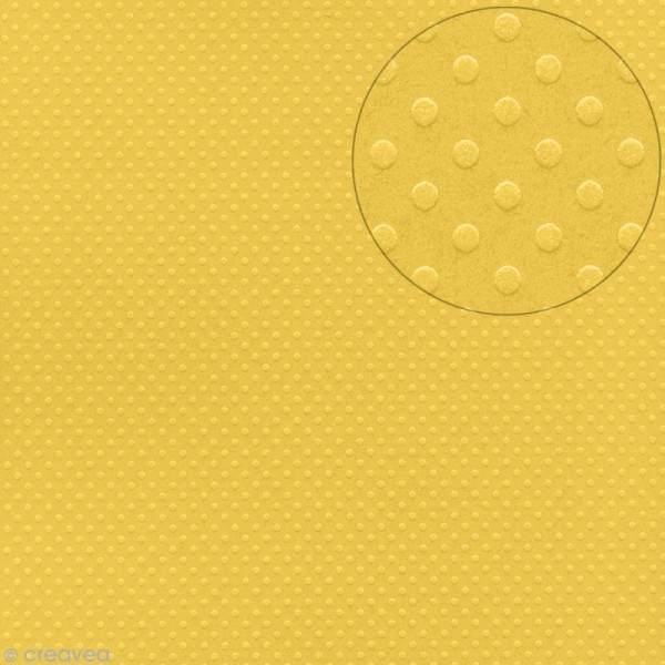 Papier scrapbooking Bazzill 30 x 30 cm - Pois - Dot butter (jaune) - Photo n°1