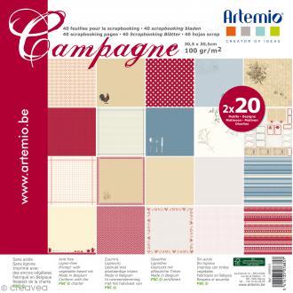 Papier Scrapbooking Artemio - Campagne - 30,5 x 30,5 cm - 40 pcs