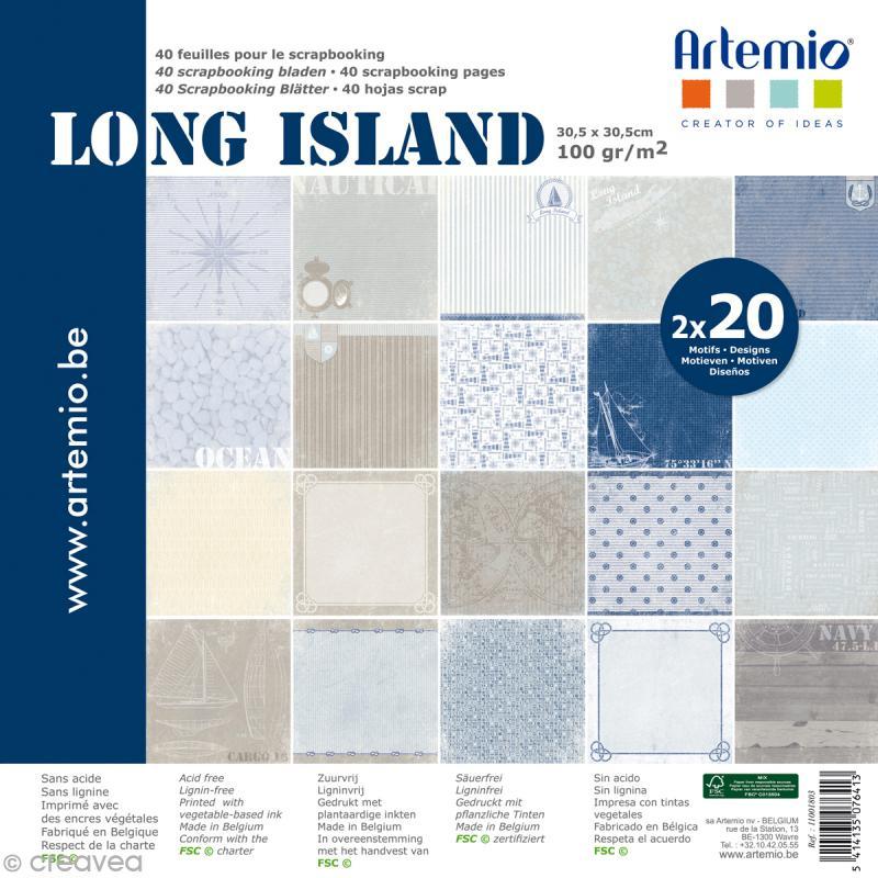 papier scrapbooking artemio long island 30 5 x 30 5 cm 40 pcs papier 30x30 creavea. Black Bedroom Furniture Sets. Home Design Ideas