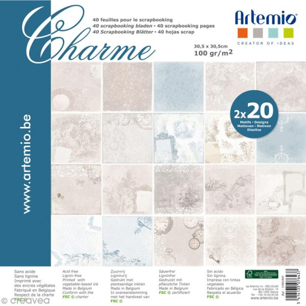 Papier Scrapbooking Artemio - Charme - 30,5 x 30,5 cm - 40 pcs - Photo n°1