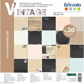 Papier Scrapbooking Artemio - Vintage - 30,5 x 30,5 cm - 40 pcs