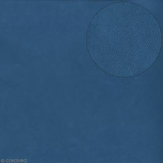 Papier scrapbooking Bazzill - Cuir fin - Bleu orage - 30 x 30 cm