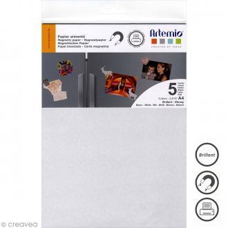 Papier magnétique - Blanc brillant - A4 - 5 pcs