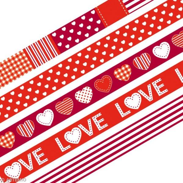 Masking Tape Artemio - Love rouge - 1,5 cm x 5 m - 5 pcs - Photo n°2