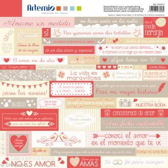 Stickers Artemio - Love - Espagnol - 1 planche 30,5 x 30,5 cm