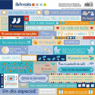 Stickers Artemio - Boy - Espagnol - 1 planche 30,5 x 30,5 cm