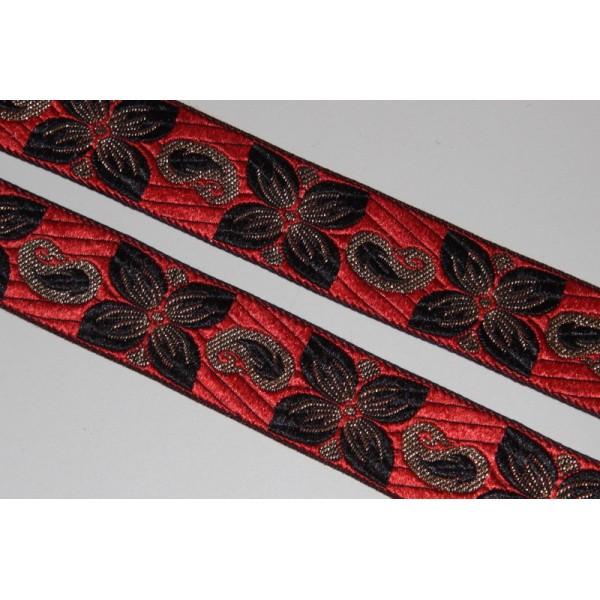 Galon ethnique rouge de 33 mm de large, ruban à fleurs - Photo n°1