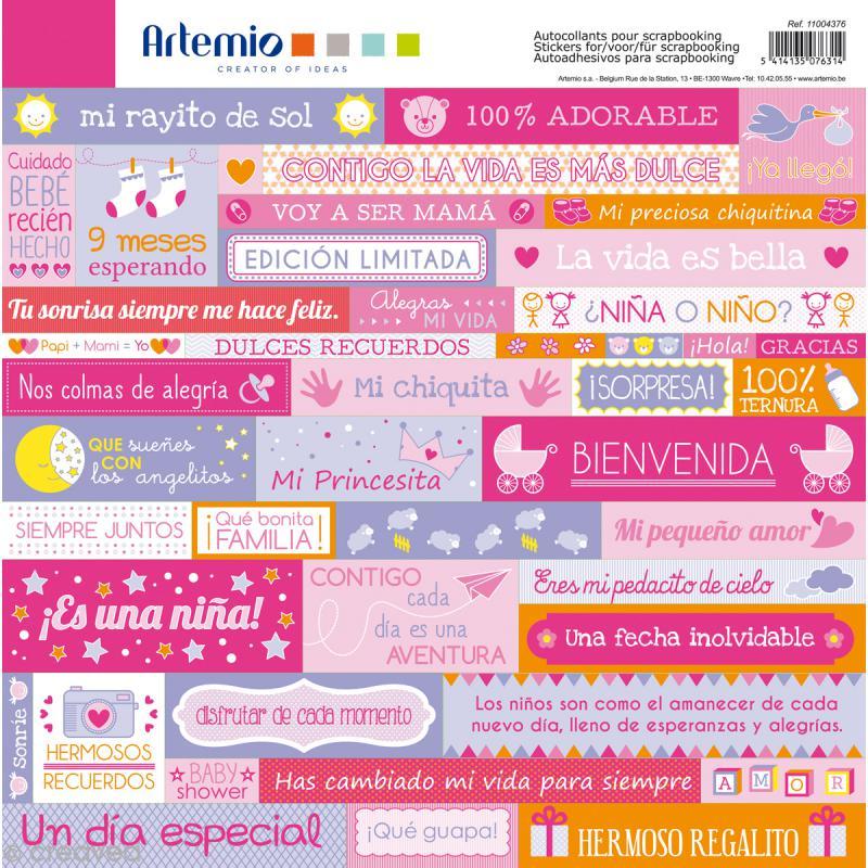 Stickers Artemio - Girl - Espagnol - 1 planche 30,5 x 30,5 cm - Photo n°1