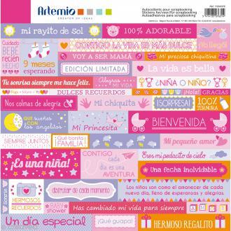 Stickers Artemio - Girl - Espagnol - 1 planche 30,5 x 30,5 cm