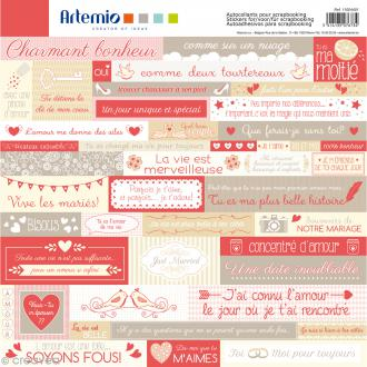 Stickers Artemio - Love - 1 planche 30,5 x 30,5 cm